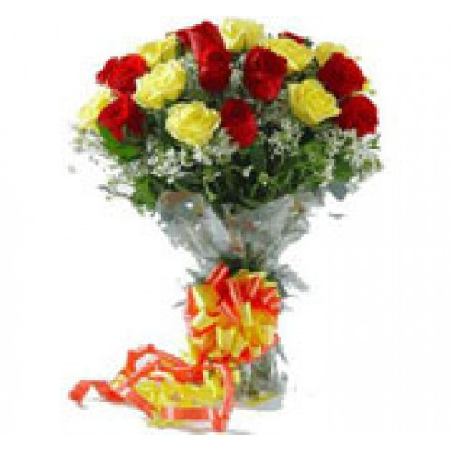 12 Red and Yellow Roses